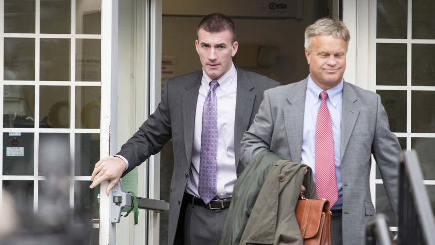 Johnson leaving Wrentham District Court in September. (Scott Eisen/The Boston Globe)