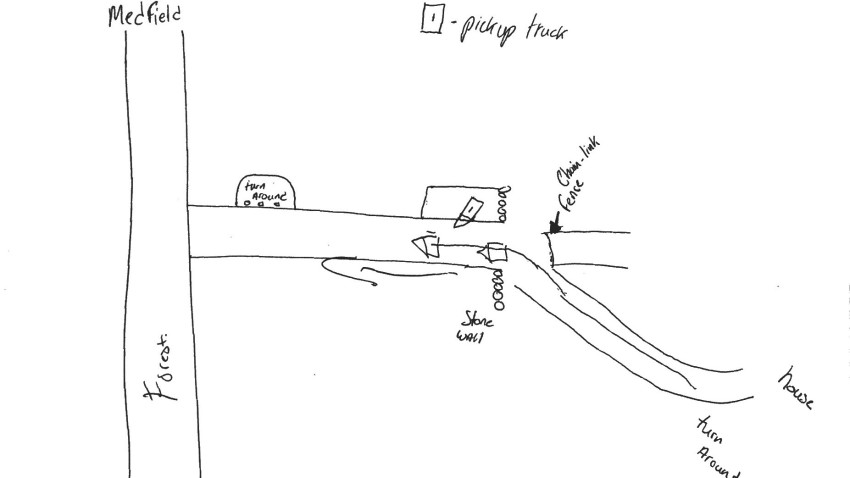 Johnson drew a map for the detectives, showing where he supposedly saw the truck in the woods off of Forest Road in Millis. (Norfolk County District Attorney's office)